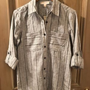 Michael Kors Stripped Button Up Top NWT!